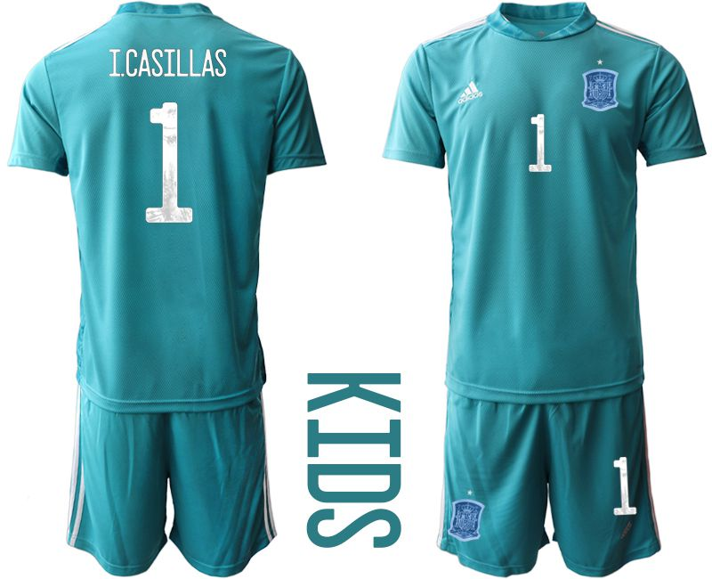 Youth 2021 World Cup National Spain lake blue goalkeeper 1 Soccer Jerseys1