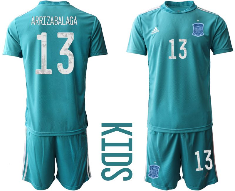 Youth 2021 World Cup National Spain lake blue goalkeeper 13 Soccer Jerseys