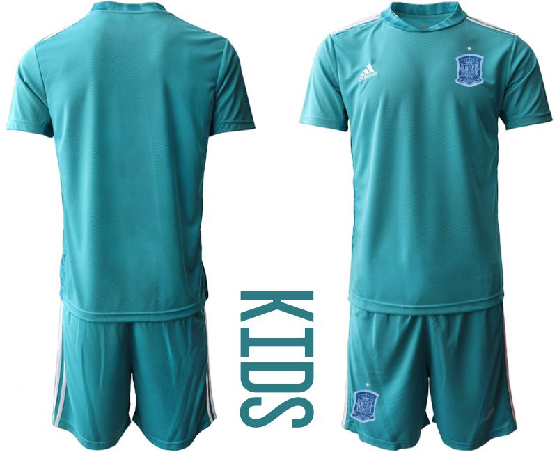 Youth 2021 World Cup National Spain lake blue goalkeeper Soccer Jerseys