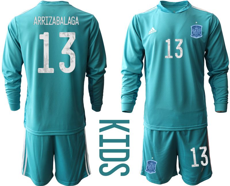 Youth 2021 World Cup National Spain lake blue long sleeve goalkeeper 13 Soccer Jerseys