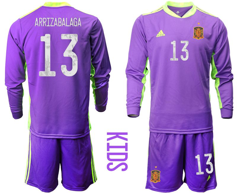Youth 2021 World Cup National Spain purple long sleeved Goalkeeper 13 Soccer Jerseys