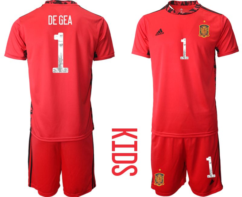 Youth 2021 World Cup National Spain red goalkeeper 1 Soccer Jerseys