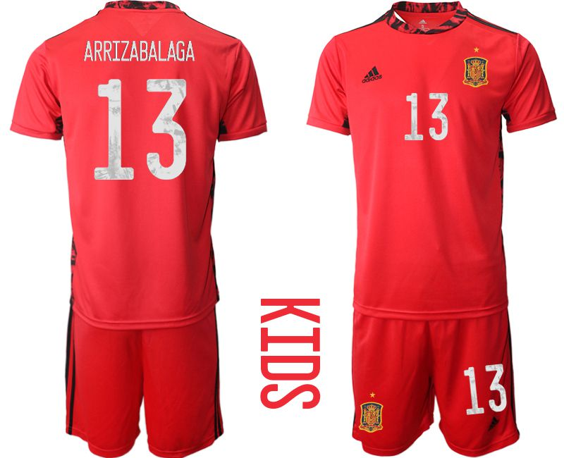 Youth 2021 World Cup National Spain red goalkeeper 13 Soccer Jerseys