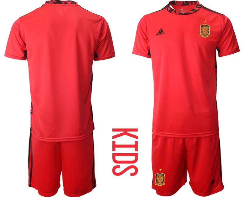 Youth 2021 World Cup National Spain red goalkeeper Soccer Jerseys