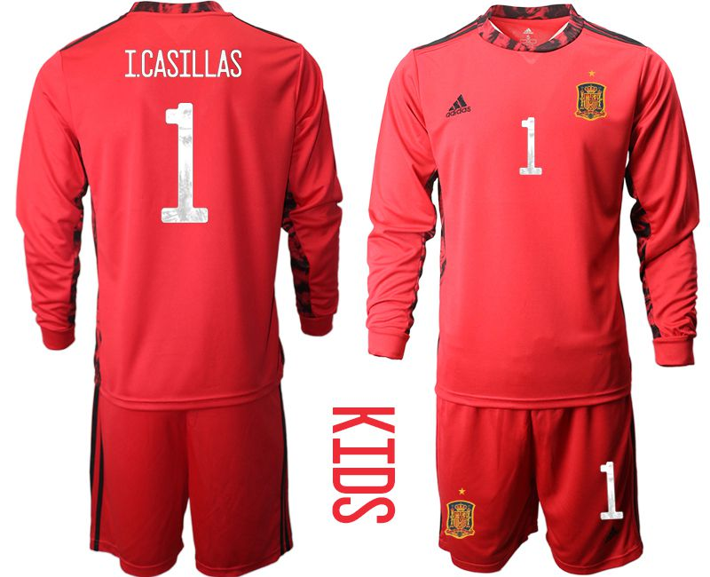 Youth 2021 World Cup National Spain red goalkeeper long sleeve 1 Soccer Jerseys1