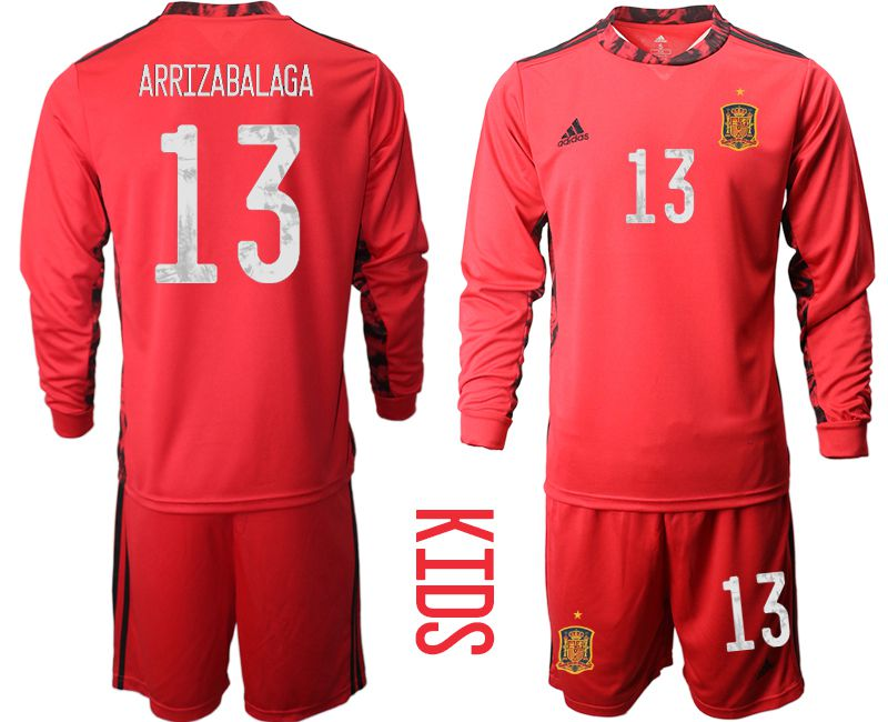 Youth 2021 World Cup National Spain red goalkeeper long sleeve 13 Soccer Jerseys