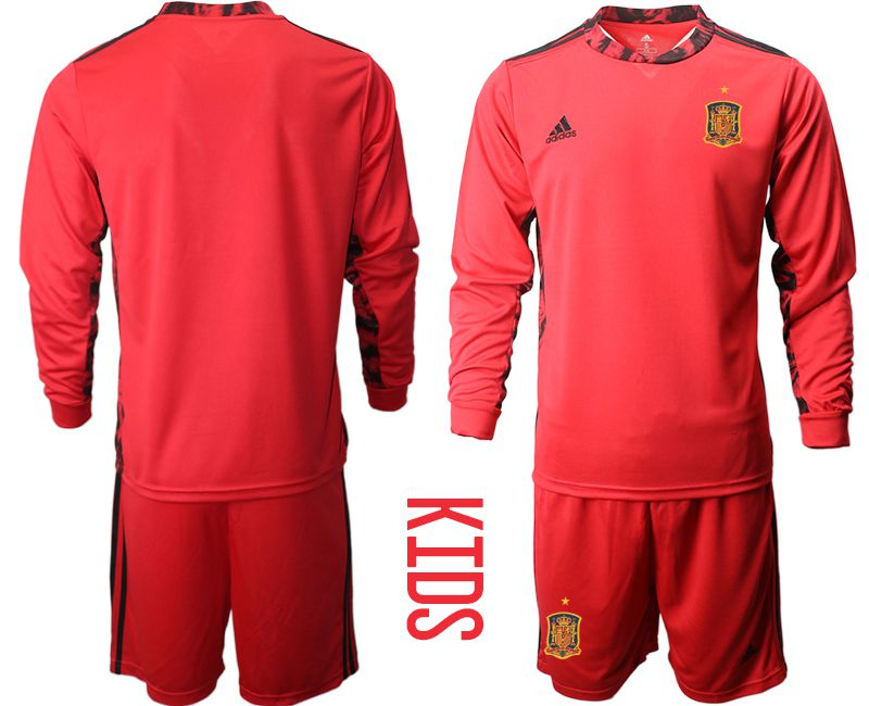 Youth 2021 World Cup National Spain red goalkeeper long sleeve Soccer Jerseys