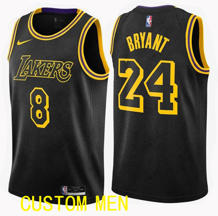 Wholesale Custom Men Los Angeles Lakers 8 Bryant Black and back of number 24 NBA Jerseys