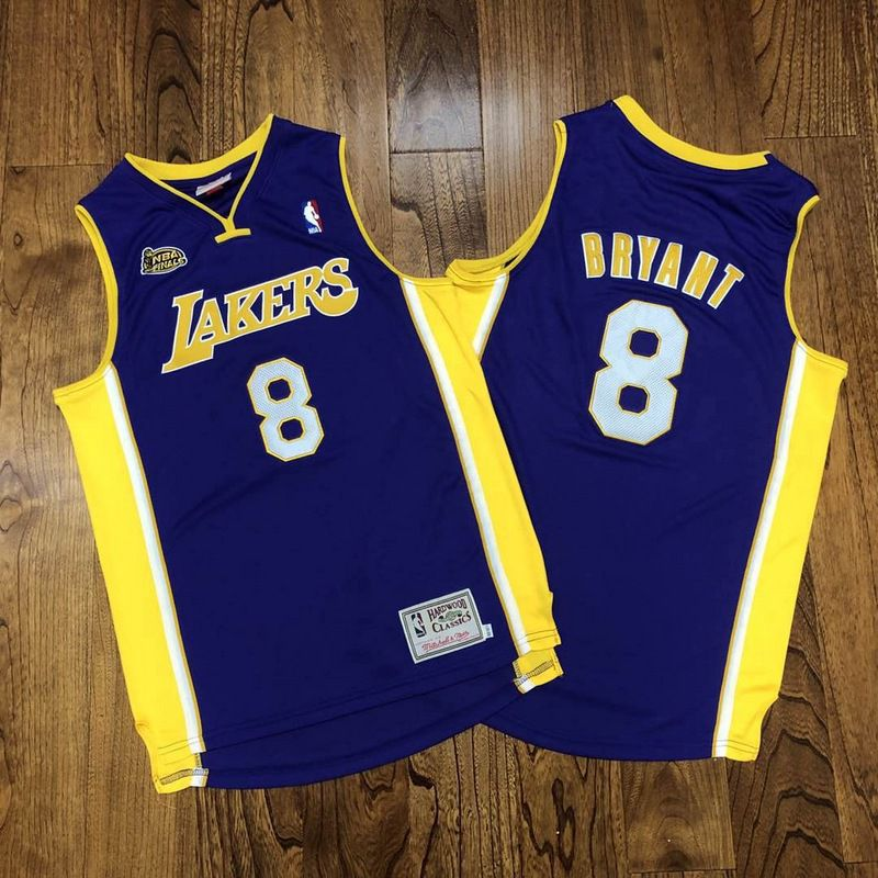 Wholesale Custom Men Los Angeles Lakers 8 Bryant Purple season 00-01 Championship mark Au embroidered NBA Jerseys