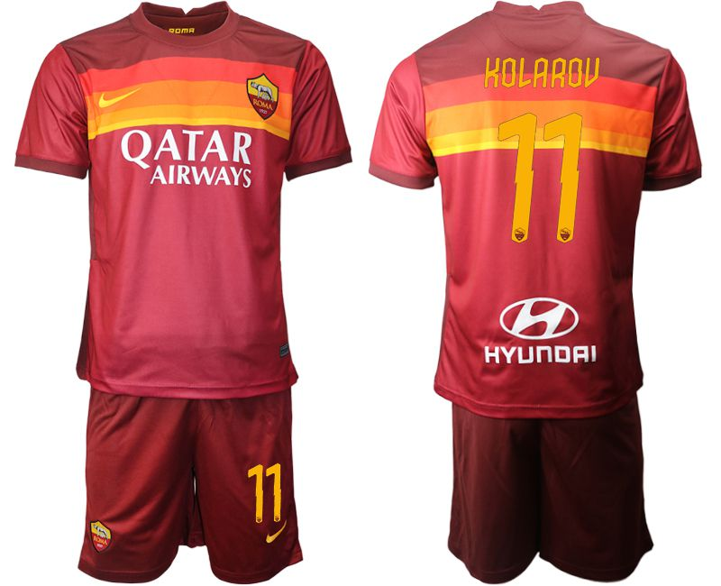 Wholesale Men 2020-2021 club AS Roma home 11 red Soccer Jerseys