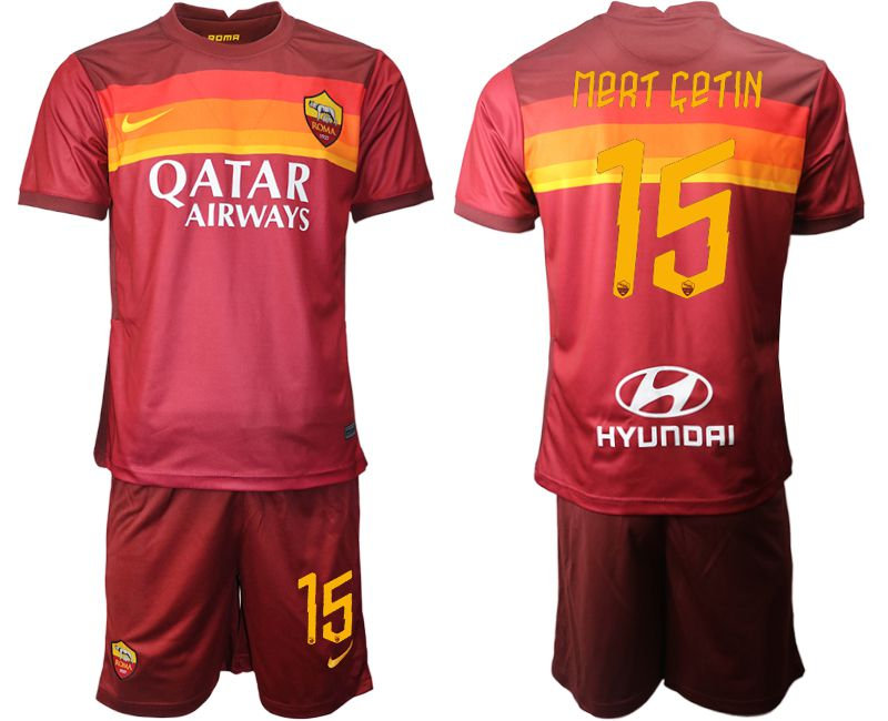 Wholesale Men 2020-2021 club AS Roma home 15 red Soccer Jerseys