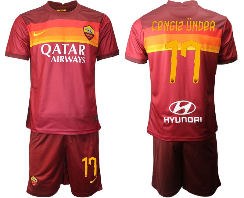 Wholesale Men 2020-2021 club AS Roma home 17 red Soccer Jerseys