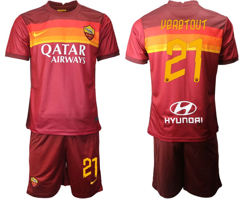 Wholesale Men 2020-2021 club AS Roma home 21 red Soccer Jerseys