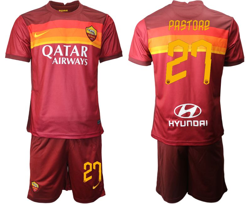 Wholesale Men 2020-2021 club AS Roma home 27 red Soccer Jerseys