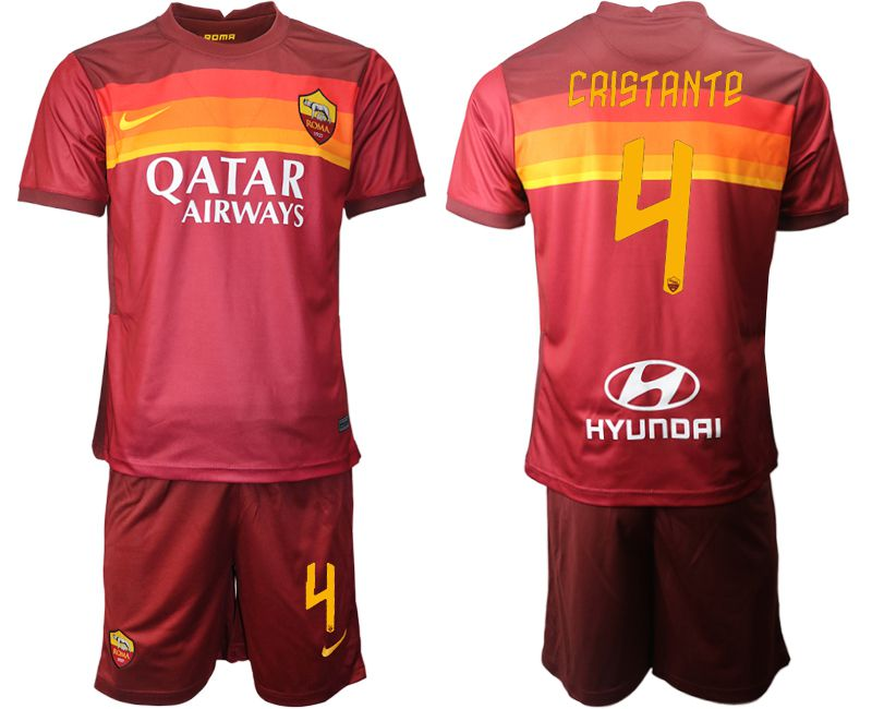 Wholesale Men 2020-2021 club AS Roma home 4 red Soccer Jerseys
