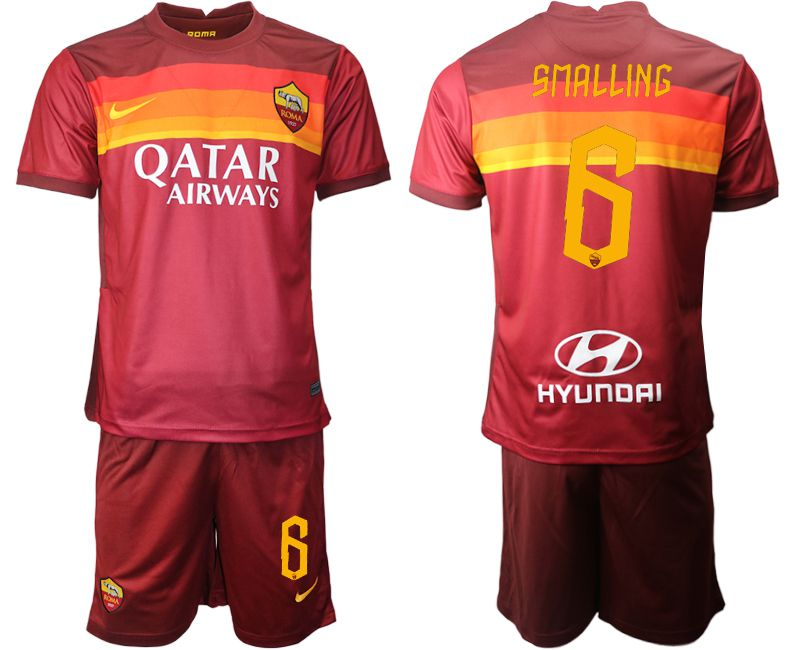 Wholesale Men 2020-2021 club AS Roma home 6 red Soccer Jerseys