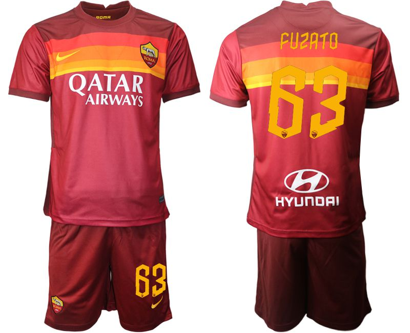 Wholesale Men 2020-2021 club AS Roma home 63 red Soccer Jerseys