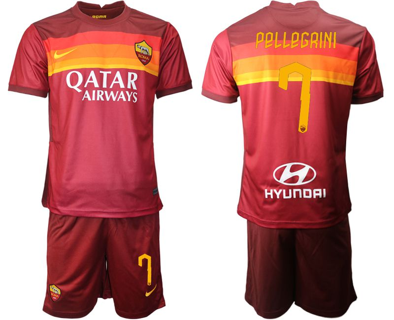 Wholesale Men 2020-2021 club AS Roma home 7 red Soccer Jerseys
