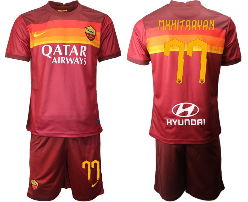 Wholesale Men 2020-2021 club AS Roma home 77 red Soccer Jerseys