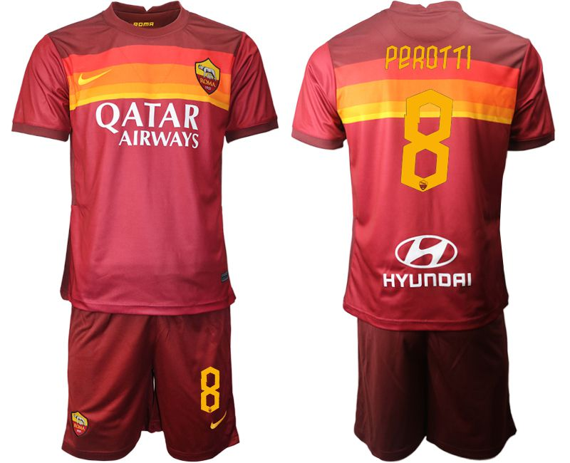 Wholesale Men 2020-2021 club AS Roma home 8 red Soccer Jerseys