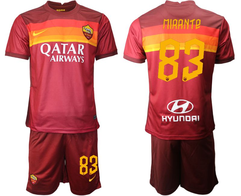 Wholesale Men 2020-2021 club AS Roma home 83 red Soccer Jerseys