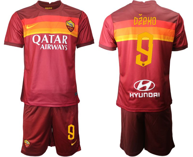 Wholesale Men 2020-2021 club AS Roma home 9 red Soccer Jerseys