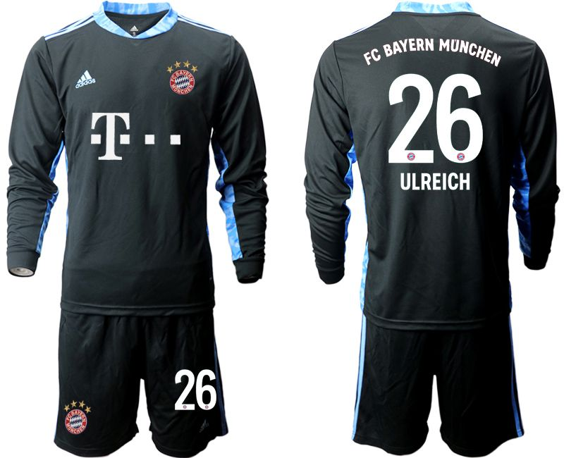 Wholesale Men 2020-2021 club Bayern Munich black long sleeve goalkeeper 26 Soccer Jerseys
