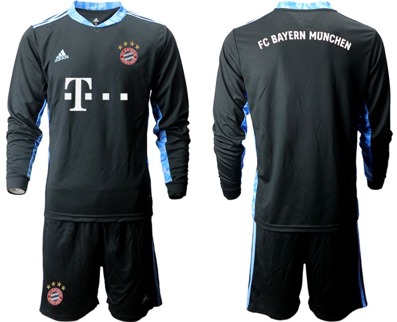Wholesale Men 2020-2021 club Bayern Munich black long sleeve goalkeeper Soccer Jerseys