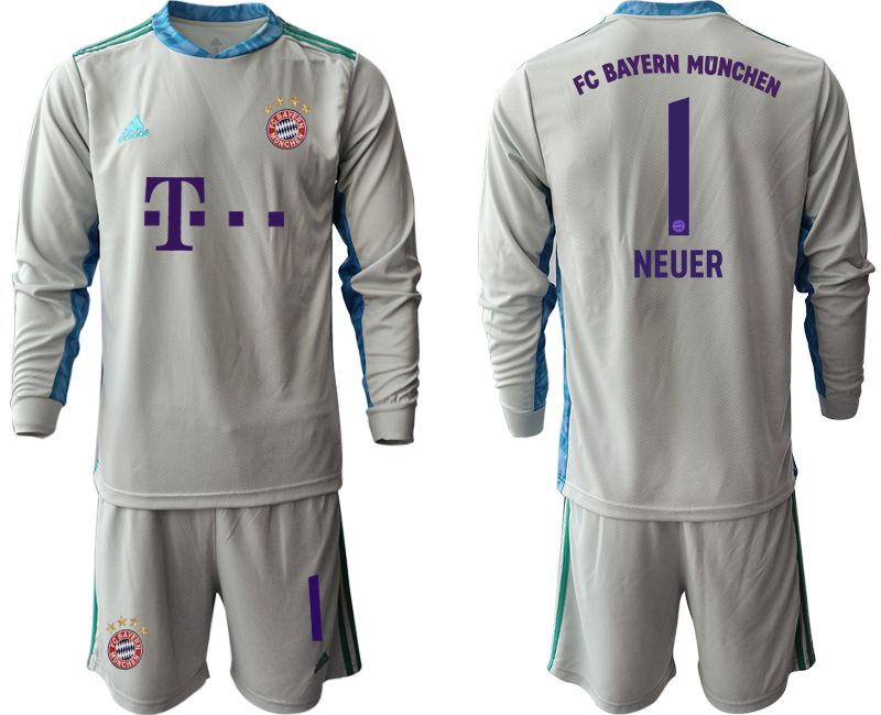 Cheap Men 2020-2021 club Bayern Munich gray long sleeve goalkeeper 1 Soccer Jerseys