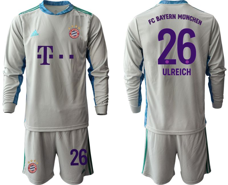 Wholesale Men 2020-2021 club Bayern Munich gray long sleeve goalkeeper 26 Soccer Jerseys