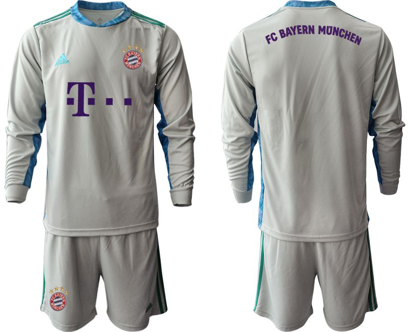 Wholesale Men 2020-2021 club Bayern Munich gray long sleeve goalkeeper Soccer Jerseys