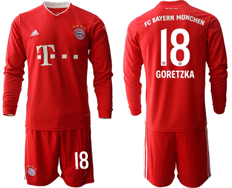 Cheap Men 2020-2021 club Bayern Munich home long sleeves 18 red Soccer Jerseys