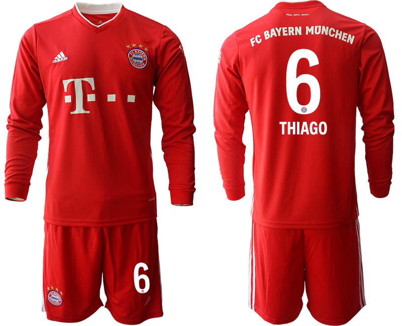 Cheap Men 2020-2021 club Bayern Munich home long sleeves 6 red Soccer Jerseys