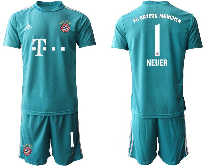 Cheap Men 2020-2021 club Bayern Munich lake blue goalkeeper 1 Soccer Jerseys