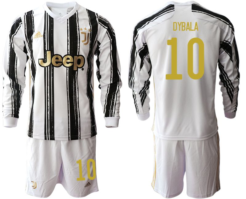 Men 2020-2021 club Juventus home long sleeves 10 white Soccer Jerseys