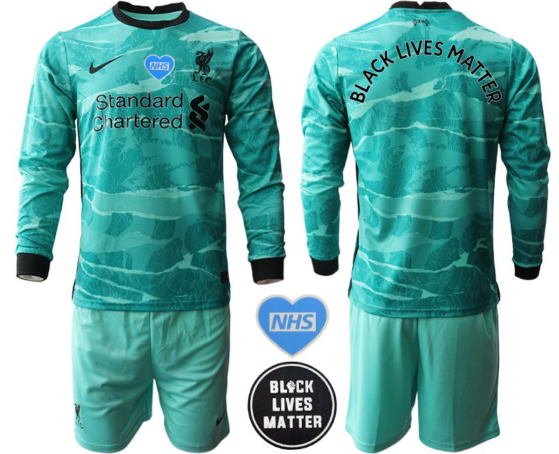 Wholesale Men 2020-2021 club Liverpool away Black Lives Matter long sleeves green Soccer Jerseys
