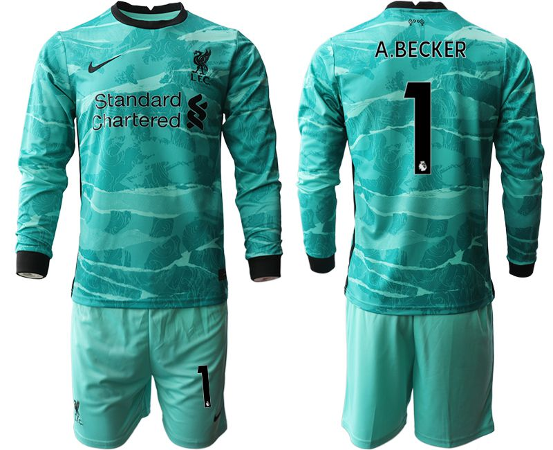 Wholesale Men 2020-2021 club Liverpool away long sleeves 1 green Soccer Jerseys