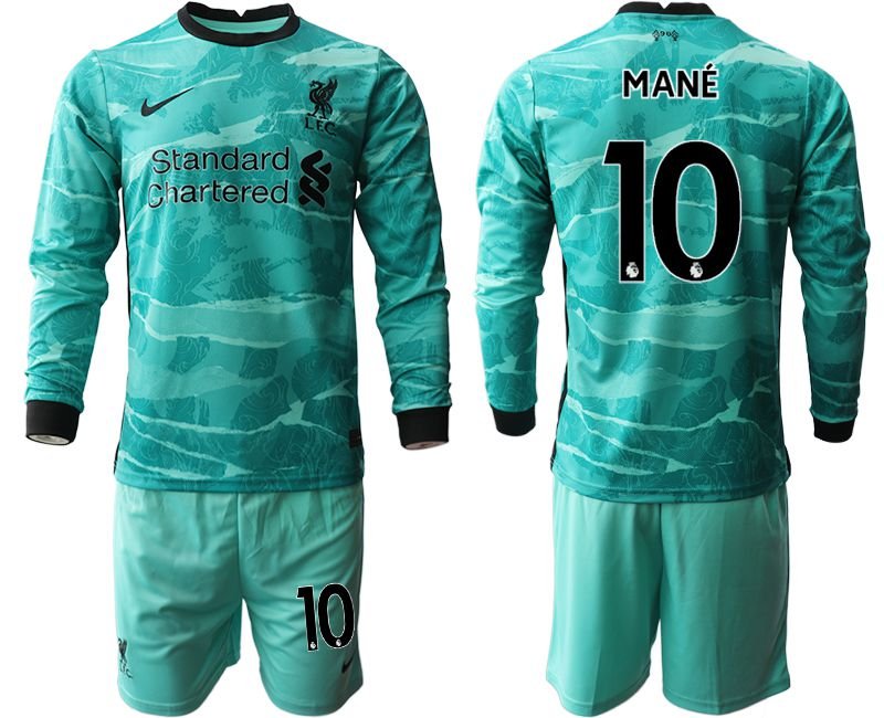Wholesale Men 2020-2021 club Liverpool away long sleeves 10 green Soccer Jerseys