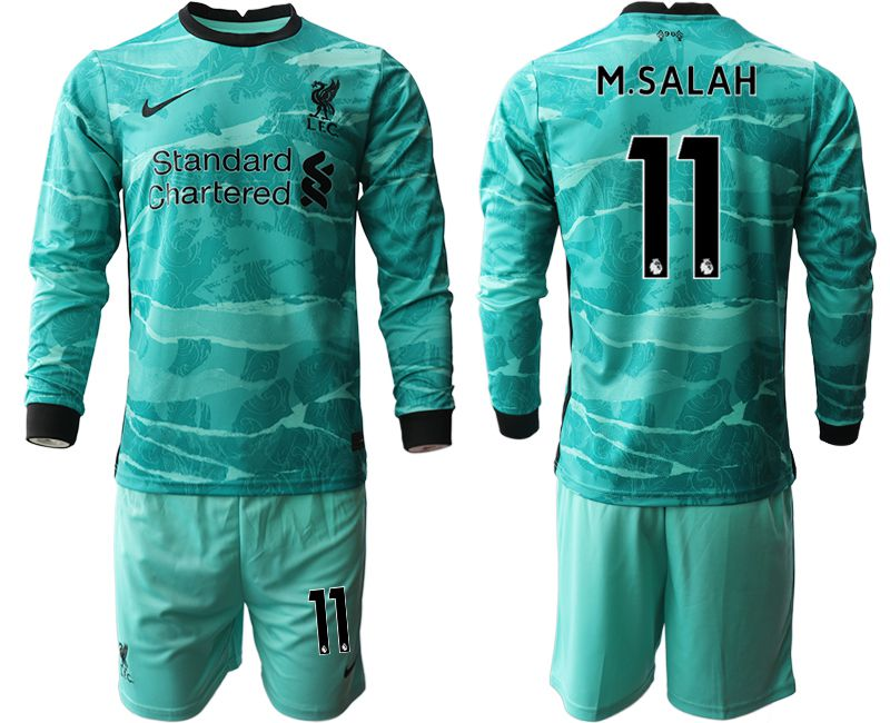 Wholesale Men 2020-2021 club Liverpool away long sleeves 11 green Soccer Jerseys