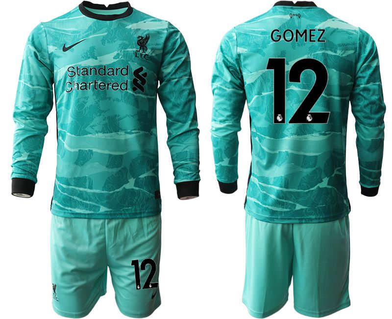 Wholesale Men 2020-2021 club Liverpool away long sleeves 12 green Soccer Jerseys