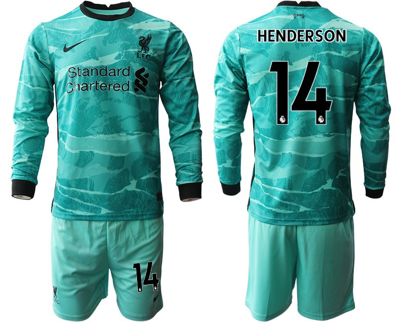 Wholesale Men 2020-2021 club Liverpool away long sleeves 14 green Soccer Jerseys