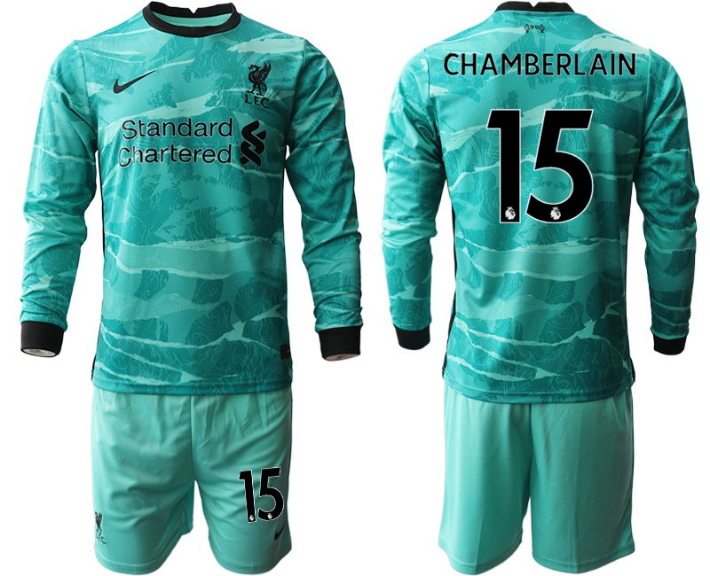 Wholesale Men 2020-2021 club Liverpool away long sleeves 15 green Soccer Jerseys