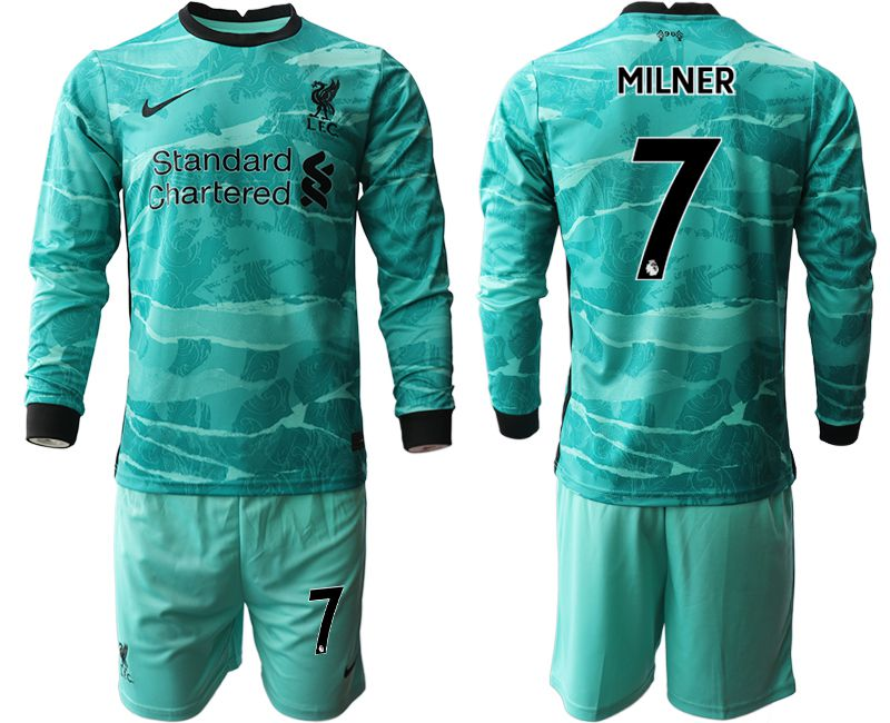 Wholesale Men 2020-2021 club Liverpool away long sleeves 7 green Soccer Jerseys