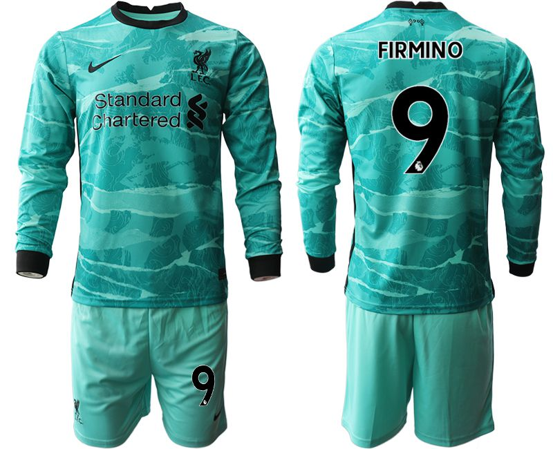 Wholesale Men 2020-2021 club Liverpool away long sleeves 9 green Soccer Jerseys
