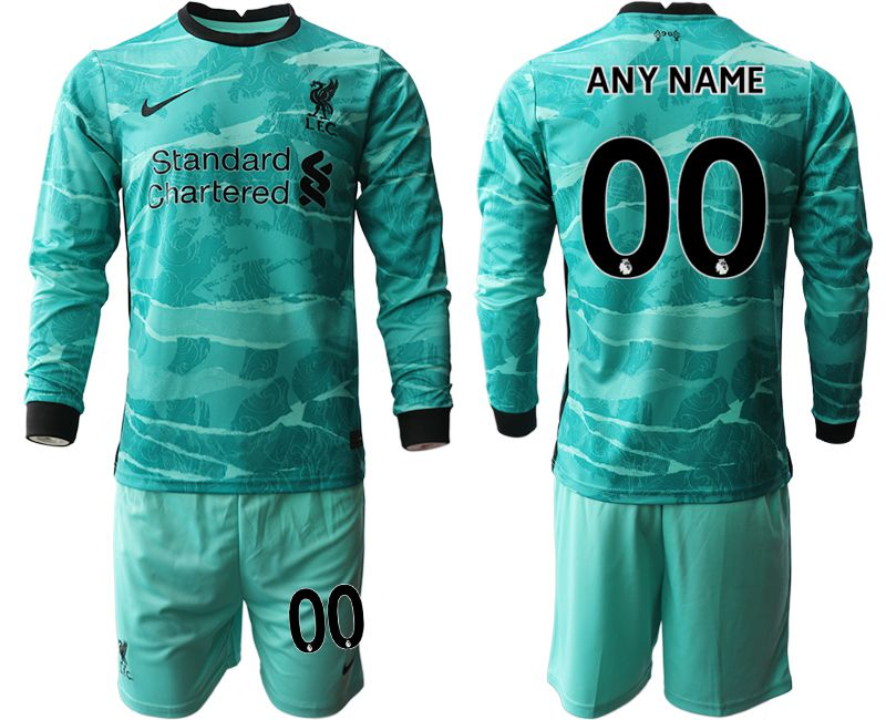 Wholesale Men 2020-2021 club Liverpool away long sleeves customized green Soccer Jerseys