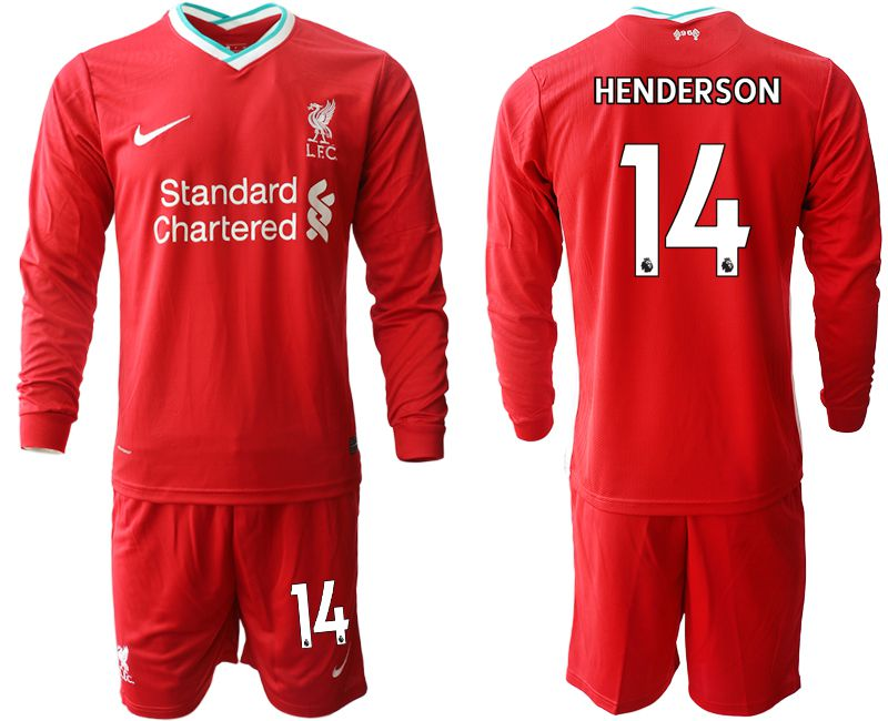 Wholesale Men 2020-2021 club Liverpool home long sleeves 14 red Soccer Jerseys