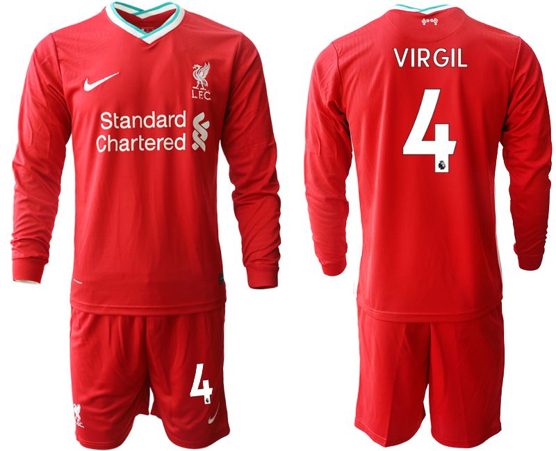 Wholesale Men 2020-2021 club Liverpool home long sleeves 4 red Soccer Jerseys