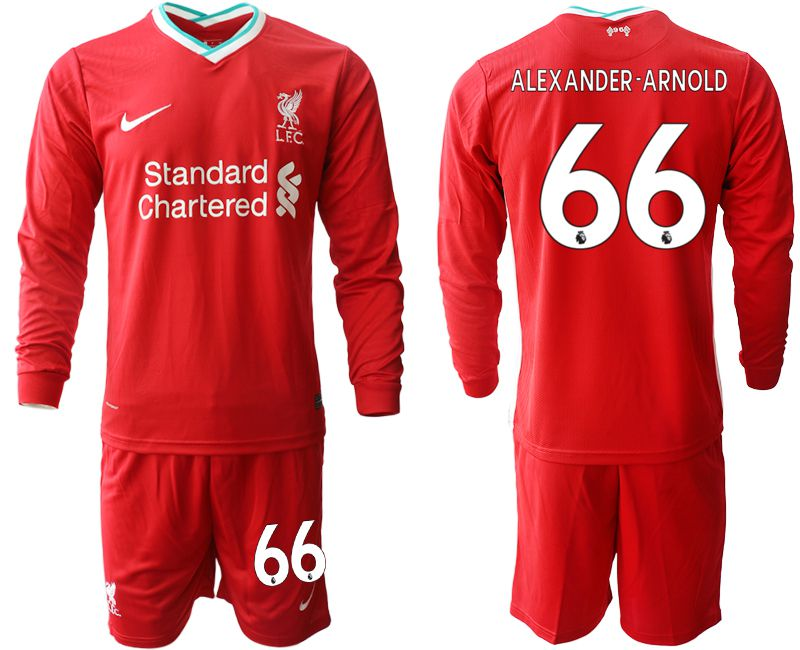 Wholesale Men 2020-2021 club Liverpool home long sleeves 66 red Soccer Jerseys