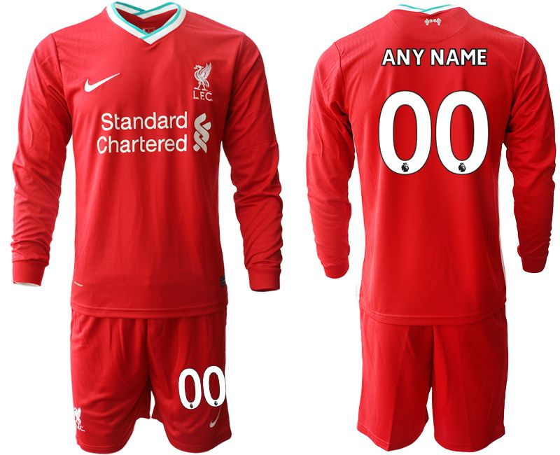 Wholesale Men 2020-2021 club Liverpool home long sleeves customized red Soccer Jerseys