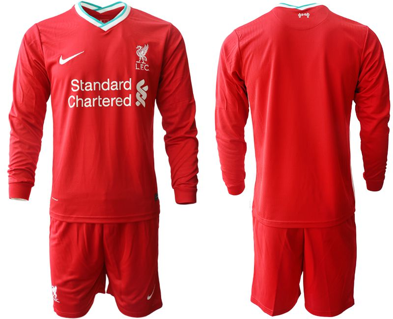 Wholesale Men 2020-2021 club Liverpool home long sleeves red Soccer Jerseys